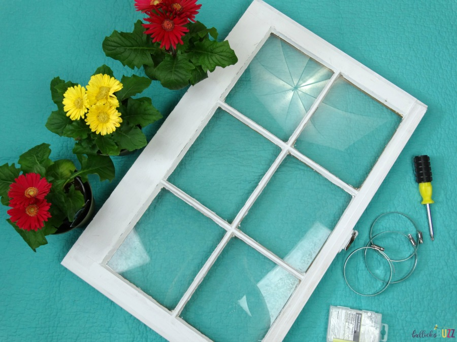 DIY Upcycled Window Flower Planter supplies