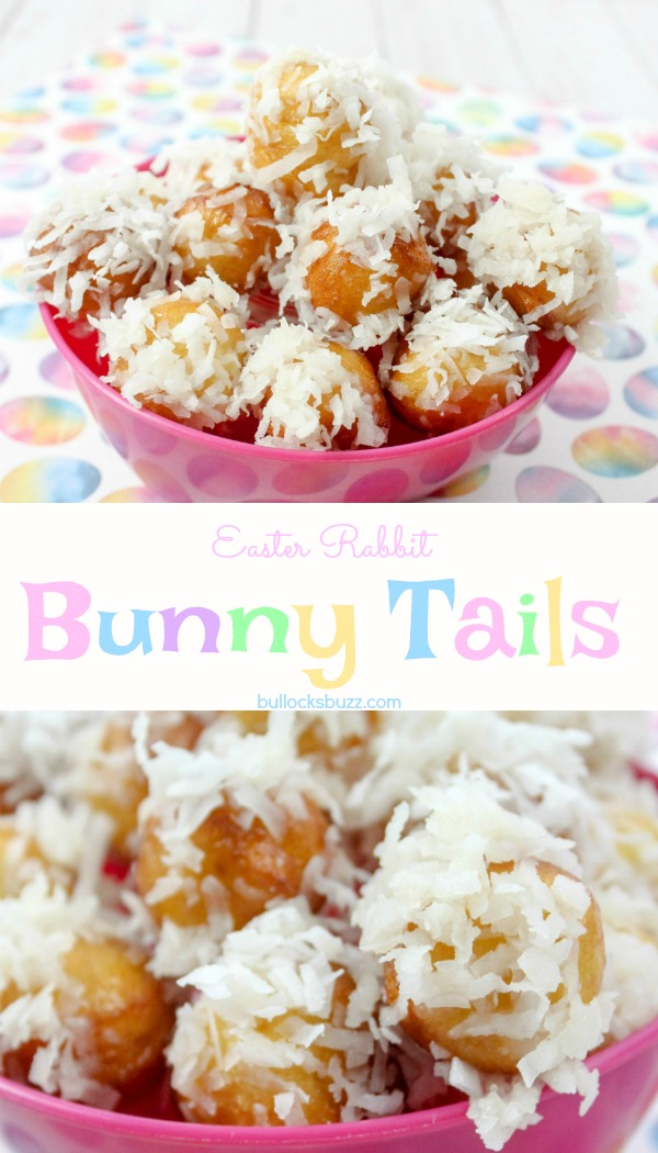 In one of my favorite Easter Bunny Recipes, sweet donut rounds made from refrigerated biscuits are dipped in a homemade glaze then rolled in coconut to make these incredibly cute Bunny Tails.