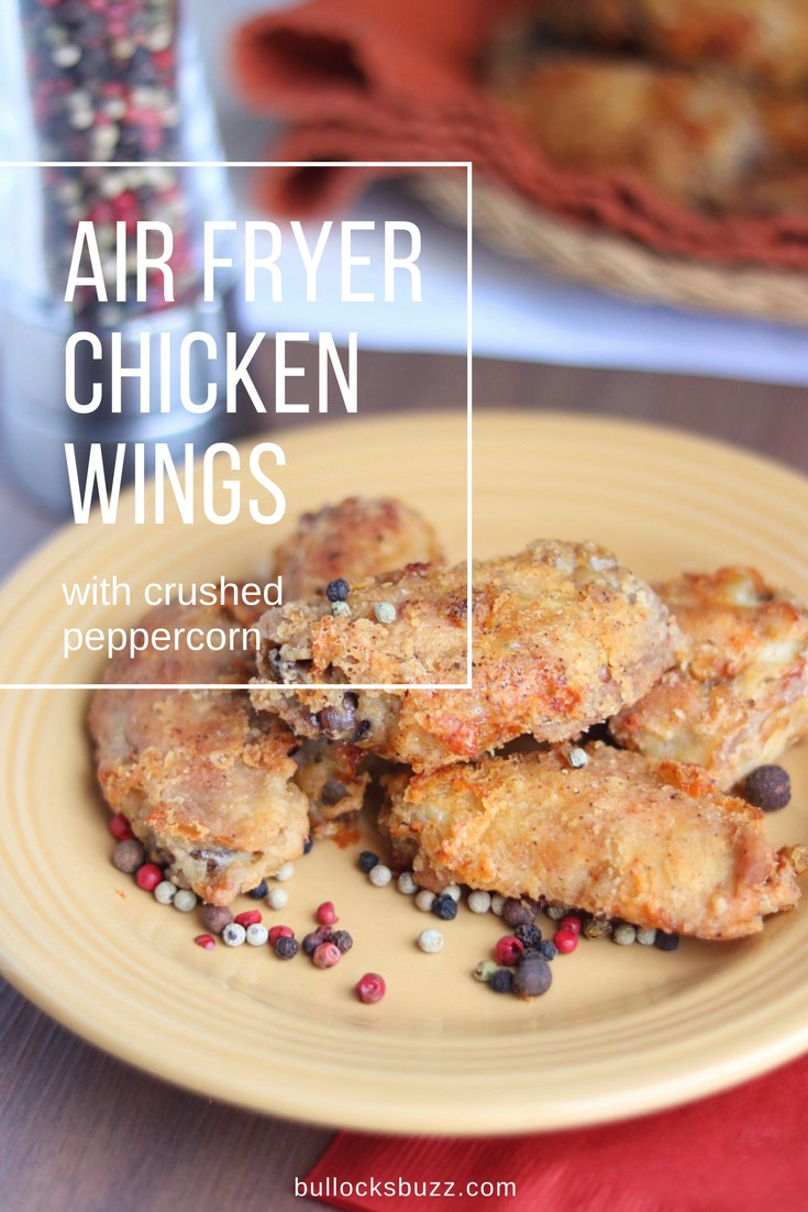 Seasoned with a simple, yet delicious blend of spices, these Air Fryer Chicken Wings with Crushed Peppercorn are great as an appetizer or a main course. Healthier then deep frying, these light, crispy textured wings are amazing!