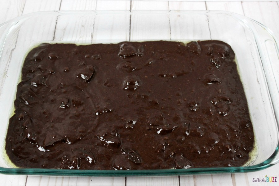 Add Thin Mint Brownies mix to greased baking pan
