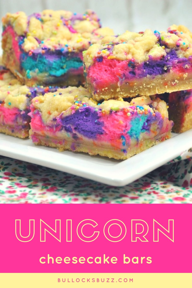 These unicorn cheesecake bars are a magical dessert your kids will love! #unicorn #cheesecake #dessert