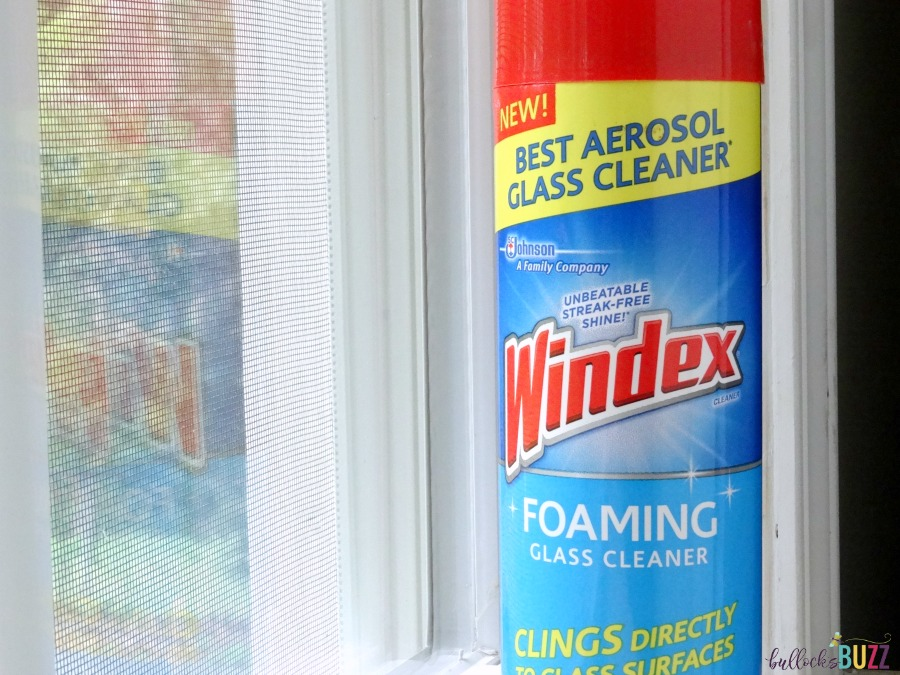 new Windex Foaming Cleaner sitting by clean window
