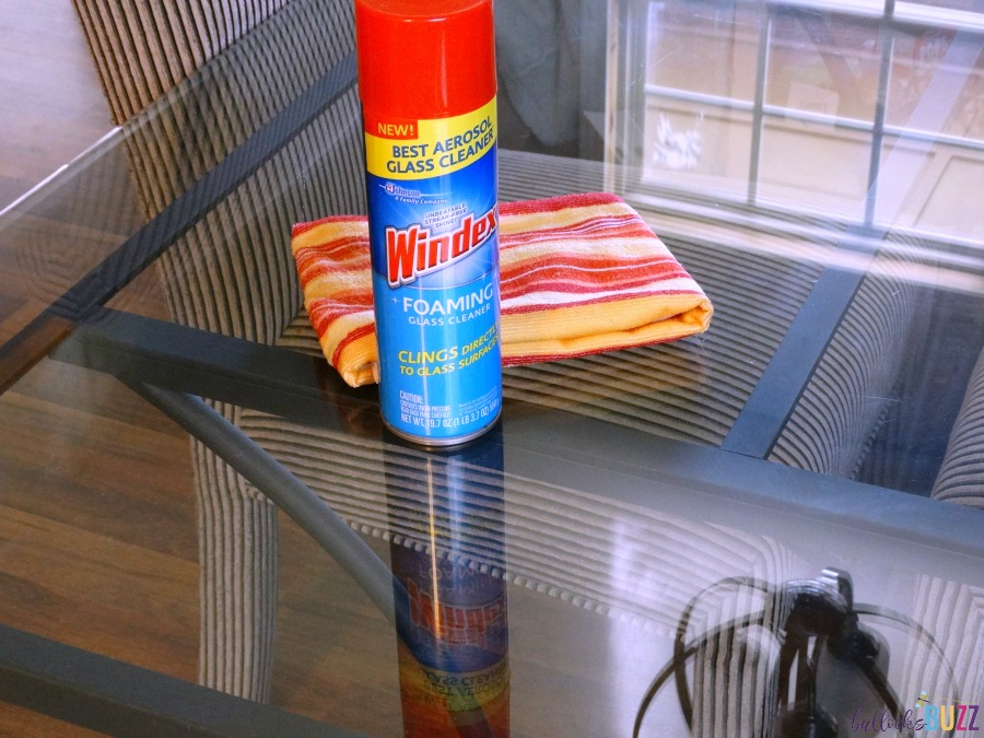 Windex Foaming Cleaner on clean table