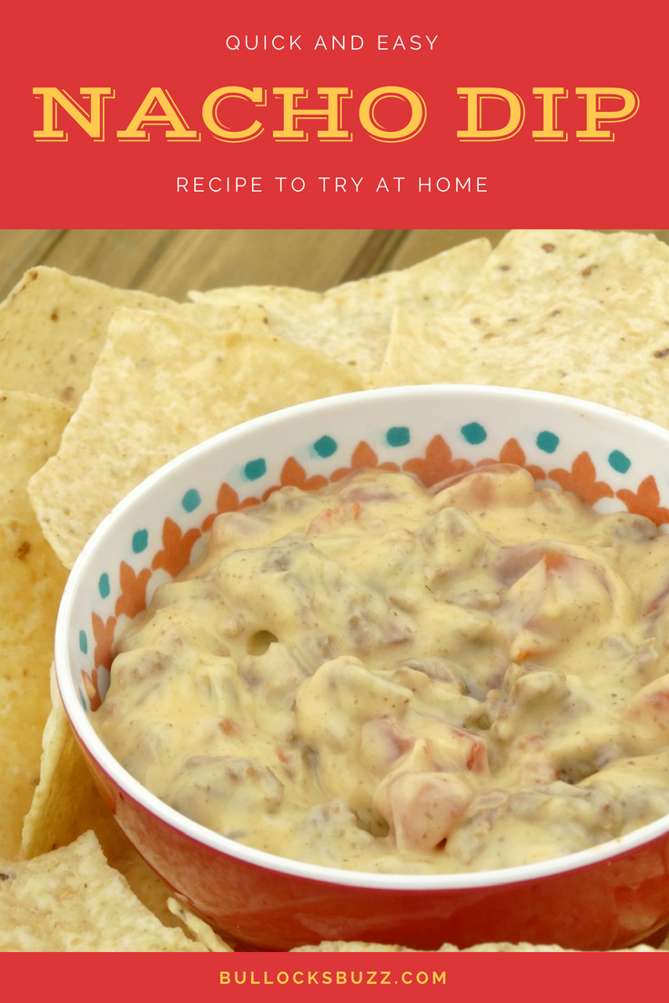Browned ground beef flavored with taco seasoning is mixed with Rico's Original Nacho Cheese Sauce and tomatoes with green chiles to make an irresistible Nacho Dip perfect for parties or a quick afternoon snack.