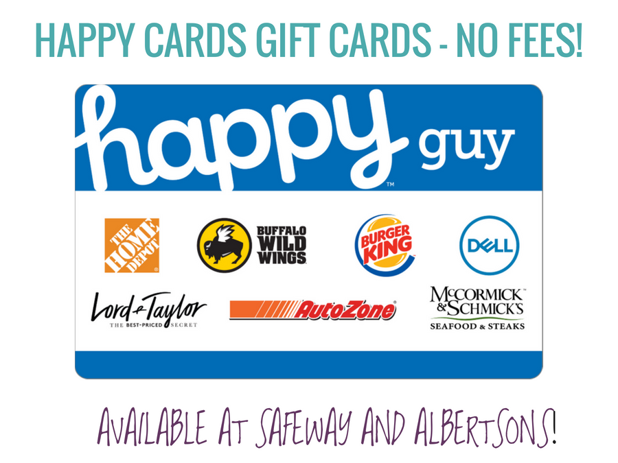HAPPY CARDS GIFT CARDS - NO FEES! happy guy