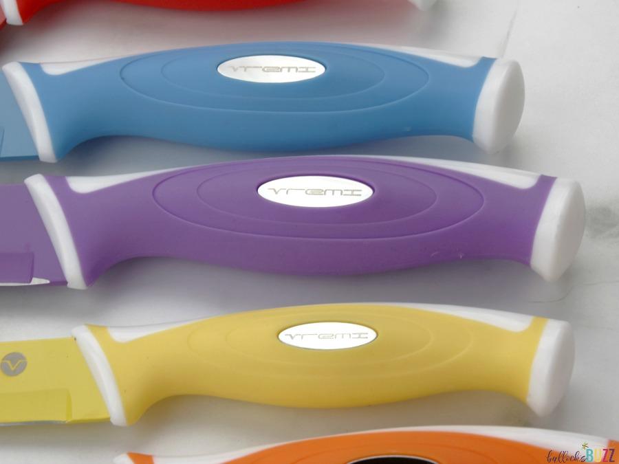 Vremi 10 piece colorful knife set handles