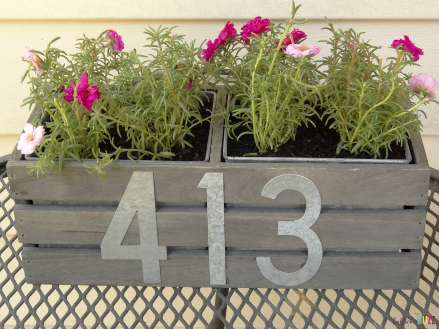 diy house number planter add pots to crate