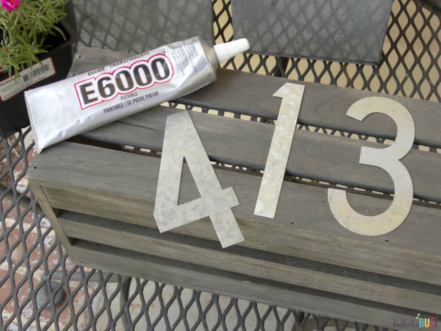 diy house number planter glue house numbers on crate
