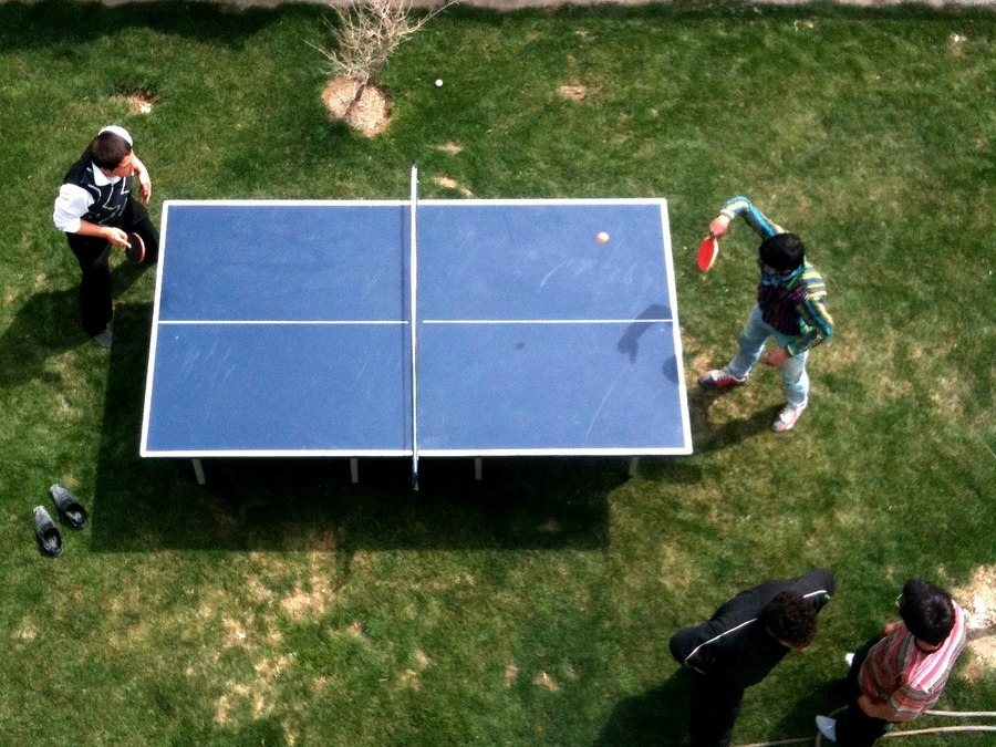 outdoor ping pong playing