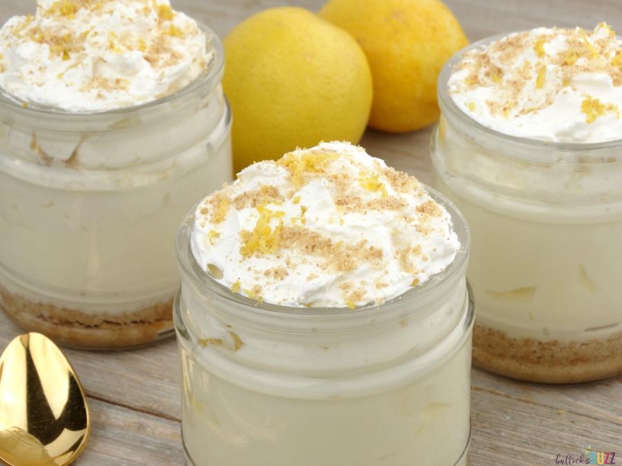 No-Bake Lemon Meringue Pie Dessert Cups made with greek yogurt