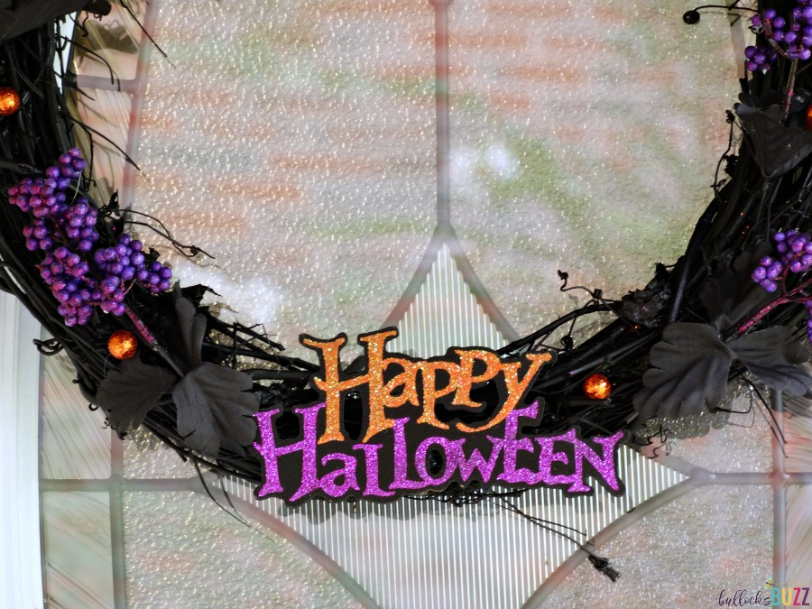 diy black and purple halloween wreath close up