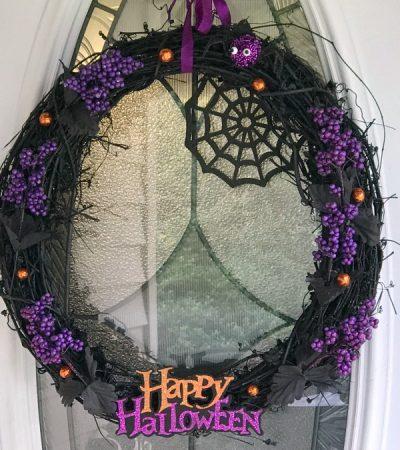 DIY Black and Purple Halloween Wreath with the New Plasti Dip Craft Line!