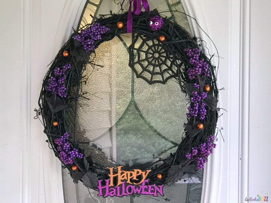 Black and Purple Halloween Wreath finished
