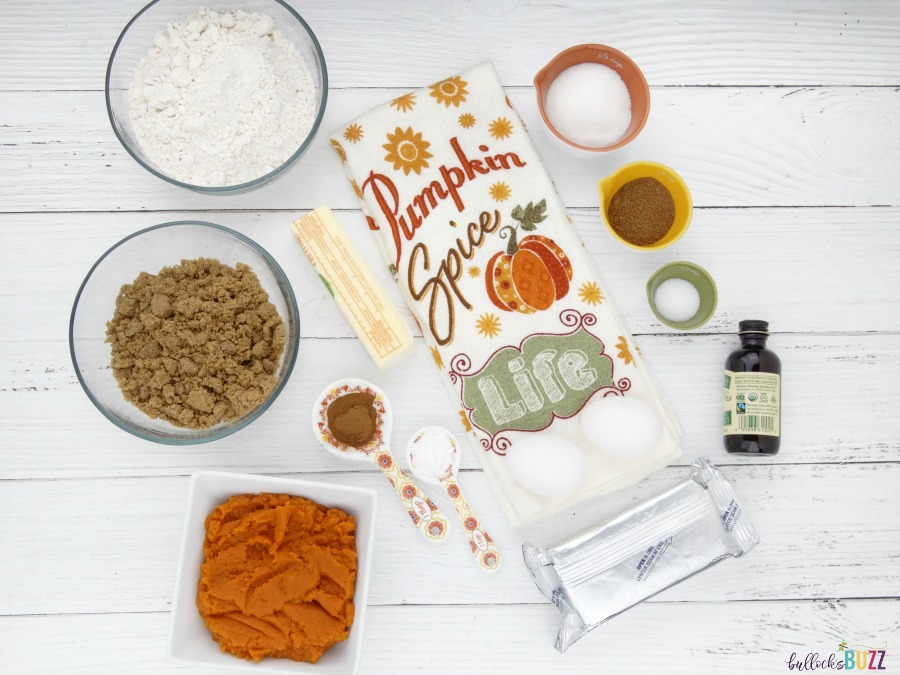 Ingredients to make Pumpkin Spice Bars with Cream Cheese Frosting