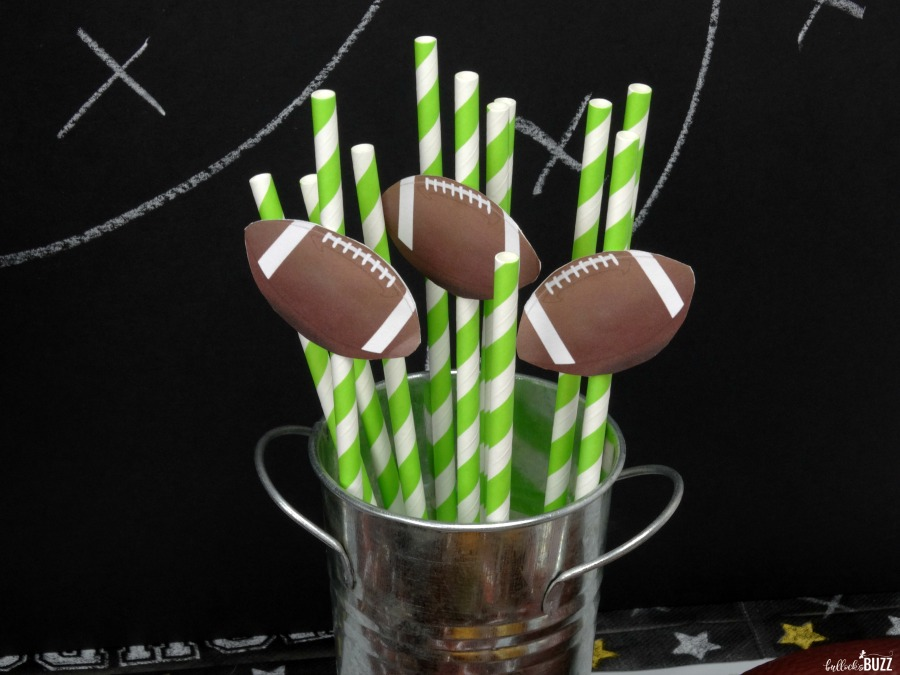 printable diy football straw toppers and Individual Five Layer Football Party Dip Cups recipe