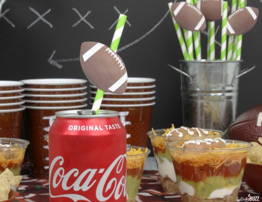 printable football straw toppers plus Football Five Layer Football Party Dip Cups recipe