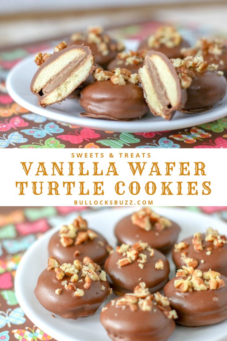 These Vanilla Wafer Turtle Cookies have it all - warm, gooey buttery caramel, rich milk chocolate, salty pecans, and the crunchy sweetness of vanilla wafers. Best of all, these chocolate-covered sandwich cookies are incredibly easy to make! #cookies #easyrecipe