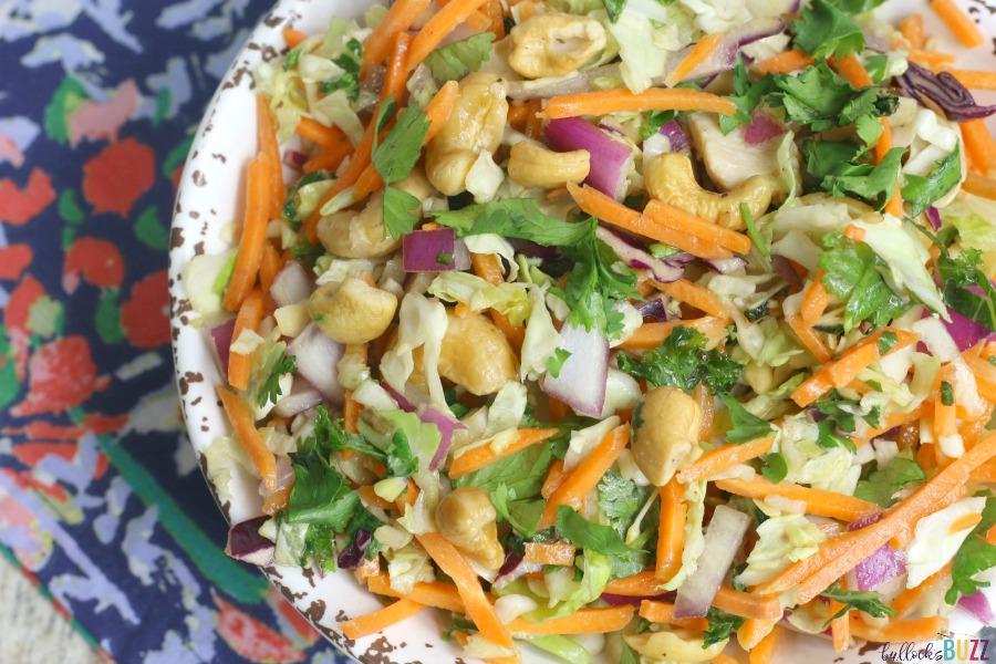 close up thai chicken salad in bowl