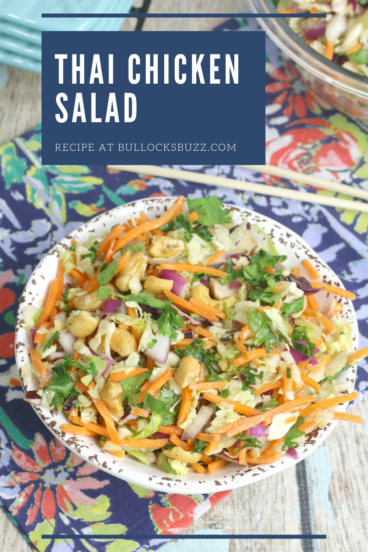 thai chicken salad in large bowl