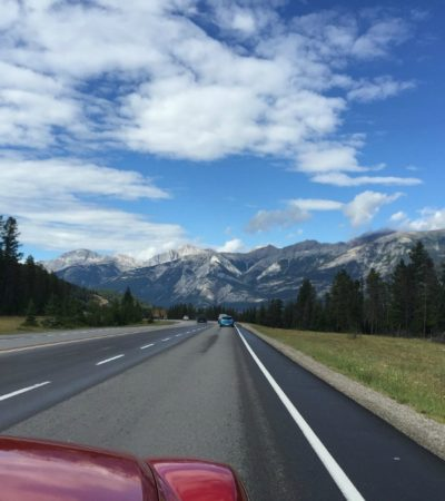 car trip on scenic road
