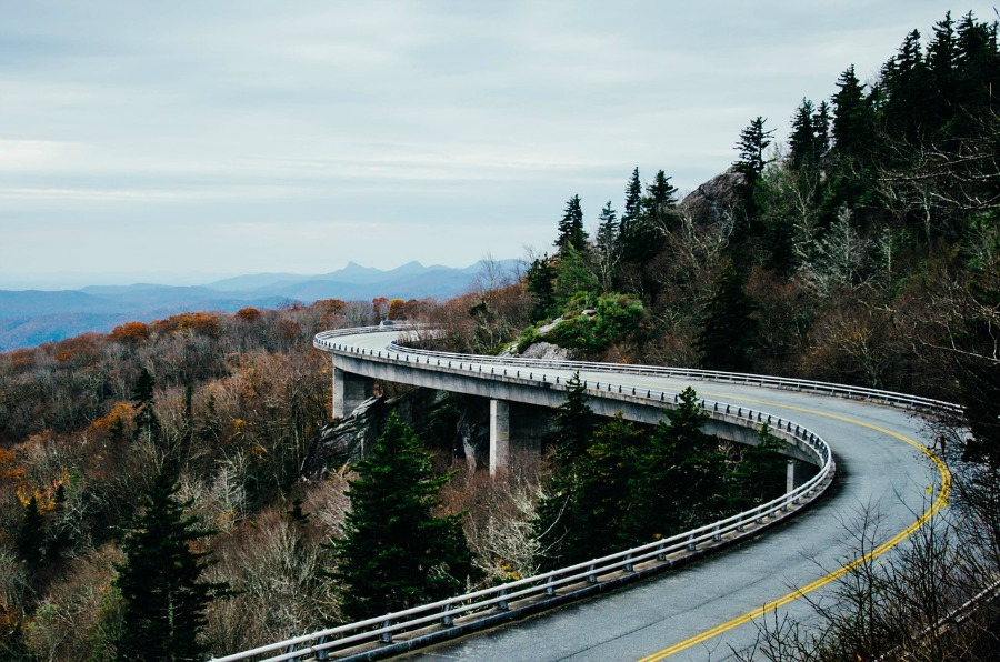 curving road through the mountains