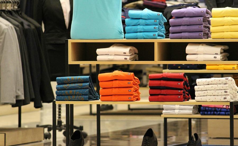 t-shirts on a shelf