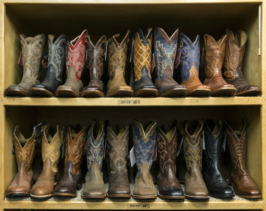 western boots on shelf
