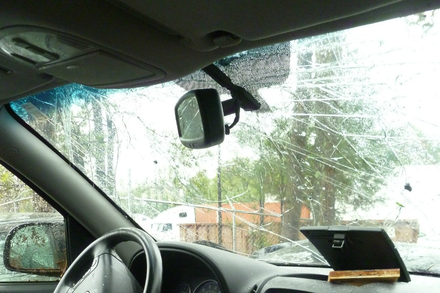 a damaged windshield