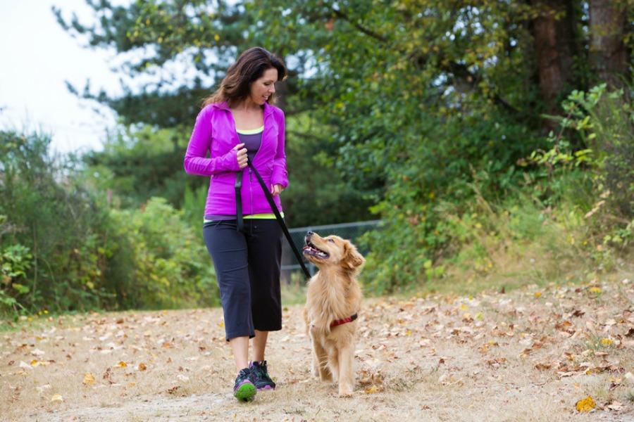 lady walking the dog to reduce menopause symptoms