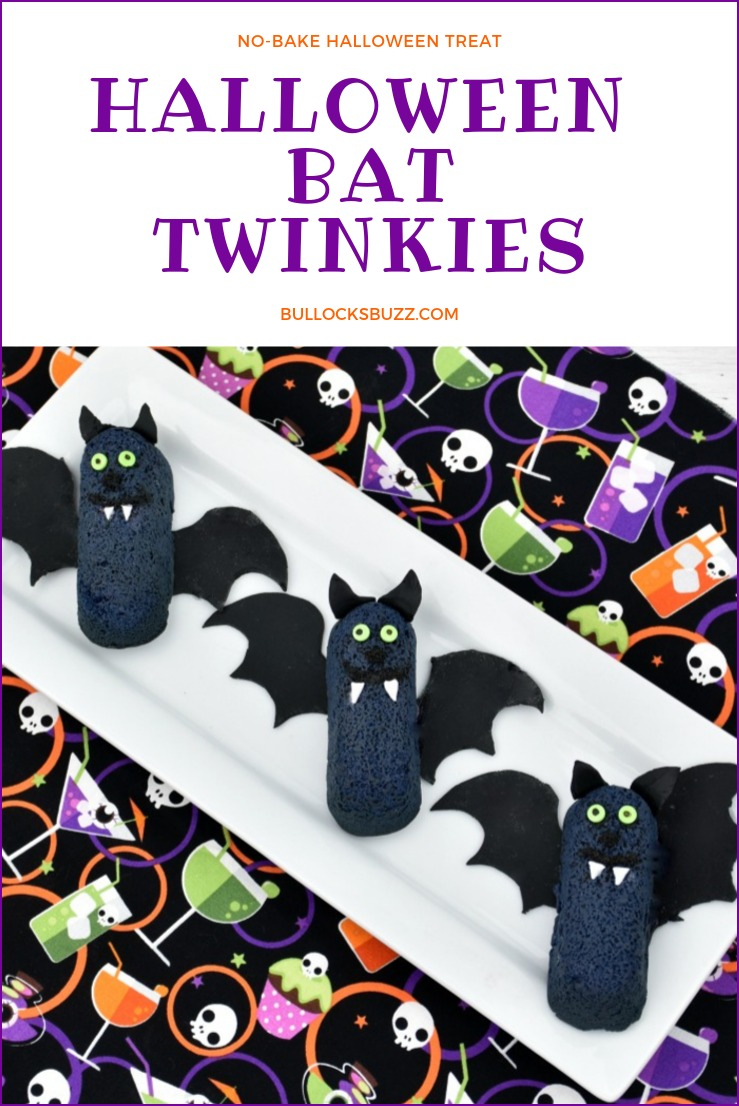 Halloween Bat Twinkies are so easy to make, it's scary! These faboolous no-bake Halloween treats are perfect for parties and make a spooktacular snack, too. Best of all, they're dreadfully delicious! #Halloween #HalloweenTreat #HalloweenRecipe
