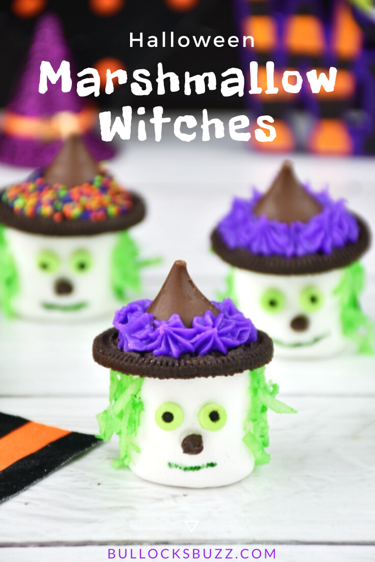 Halloween Marshmallow Witches are frightfully fun and dreadfully delicious! These faBOOlous no-bake Halloween treats are perfect for Halloween celebrations, class parties, and spooktacular after school snacks. Best of all, they're eerily easy to make! #Halloween #HalloweenTreat #marshmallowtreats