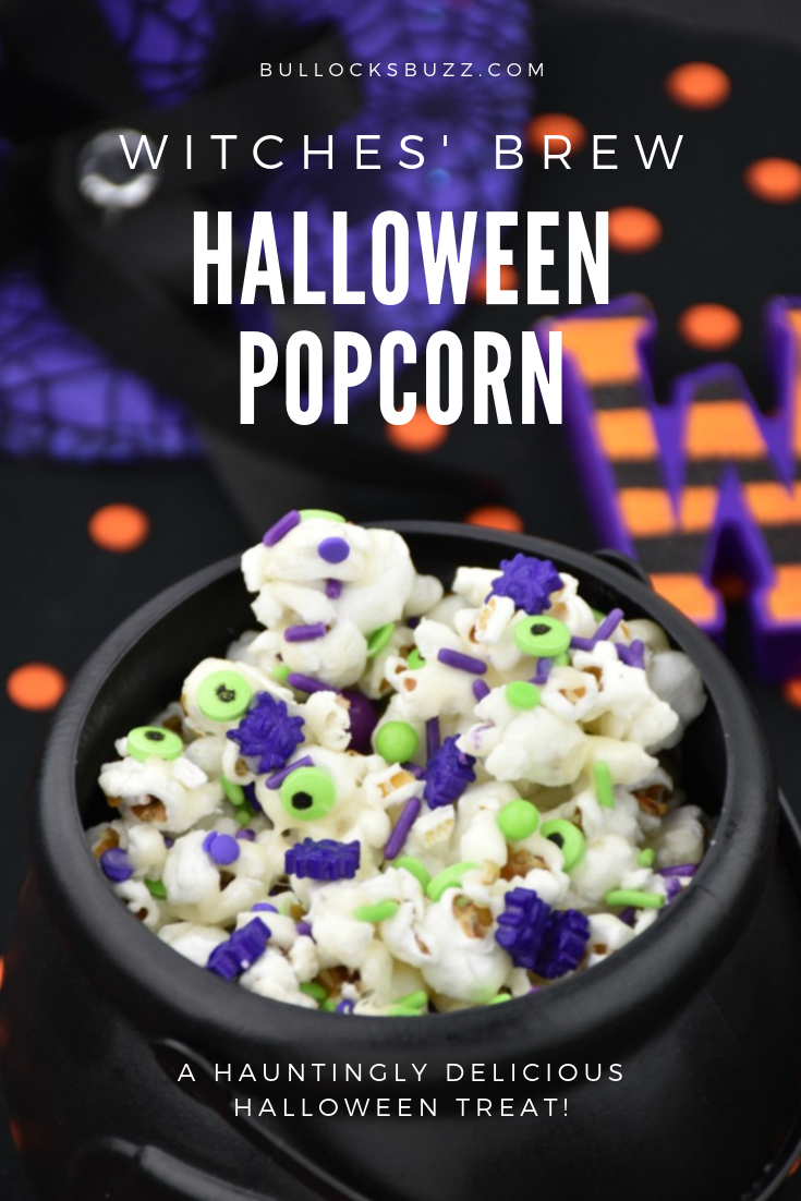 Sweet and salty popcorn sprinkled with a spooktacular mix of crunchy candy in Halloween colors, this Witches Brew Halloween Popcorn is hauntingly delicious and easy-to-make! #halloween #Halloweenrecipes