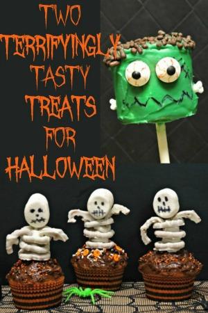 Halloween Skeleton Cupcakes and Frankenstein Marshmallow Pops
