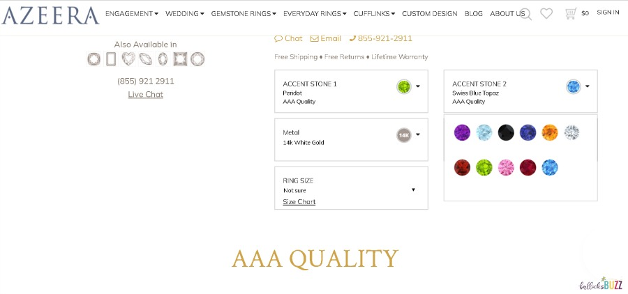 screenshot of design your ring at AZEERA