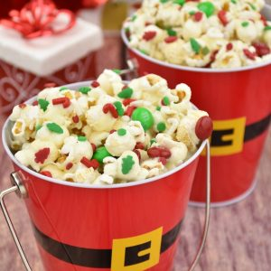 Christmas popcorn served in Santa pails