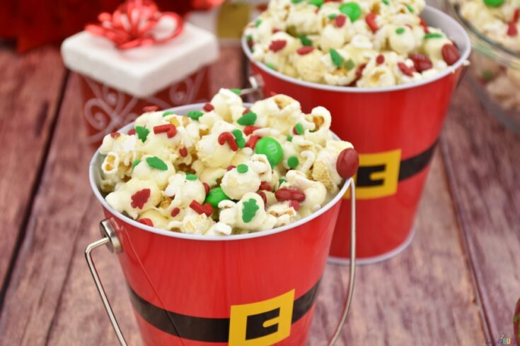 Christmas popcorn served in Santa pails