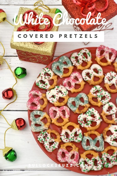 White Chocolate Covered Pretzels for Christmas