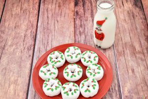Christmas Wreath Donuts on plate