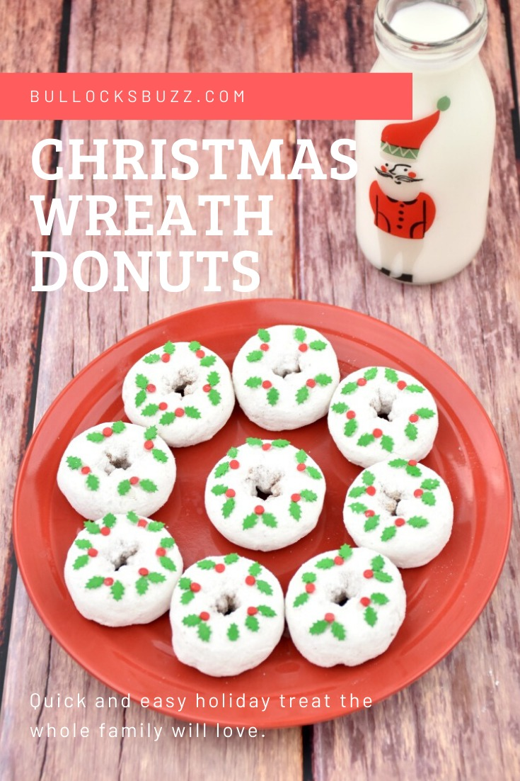 These easy Christmas Wreath Donuts are a fun, festive, and delicious holiday treat. And best of all, there is no cooking or baking involved! #Christmas #holidayrecipes #Christmastreats