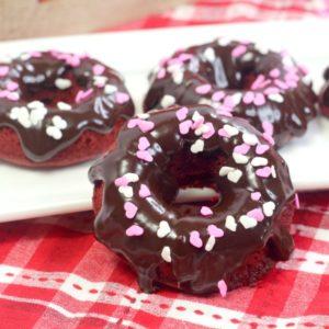 red velvet donuts on plates