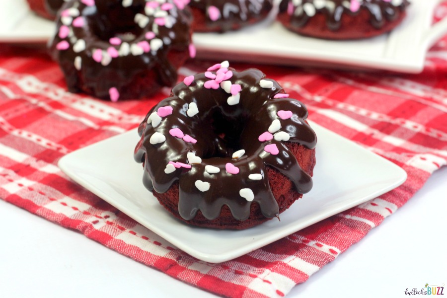 red velvet donuts with sprinkles
