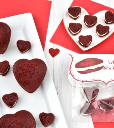 mini heart-shaped red velvet whoopie pies with free printable treat bag topper for valentine's day