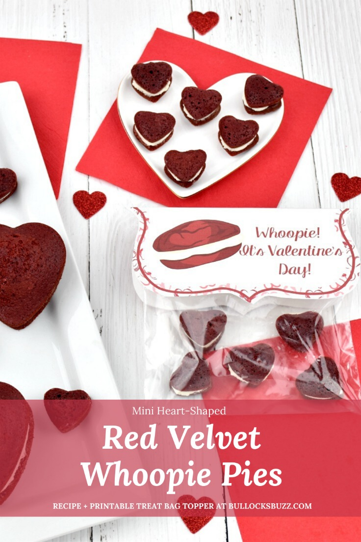 Fluffy, sweet and tangy cream cheese filling is sandwiched between two decadent, chocolatey red velvet cookies in this delectable Red Velvet Whoopie Pies recipe. Pair these miniature heart-shaped red velvet whoopie pies with this free printable treat bag topper for a deliciously sweet Valentine's Day treat!