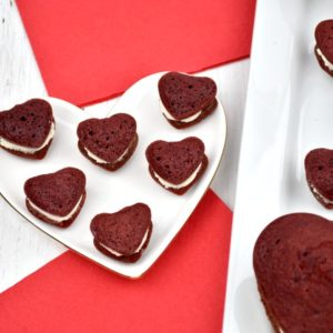 mini heart-shaped red velvet whoopie pies