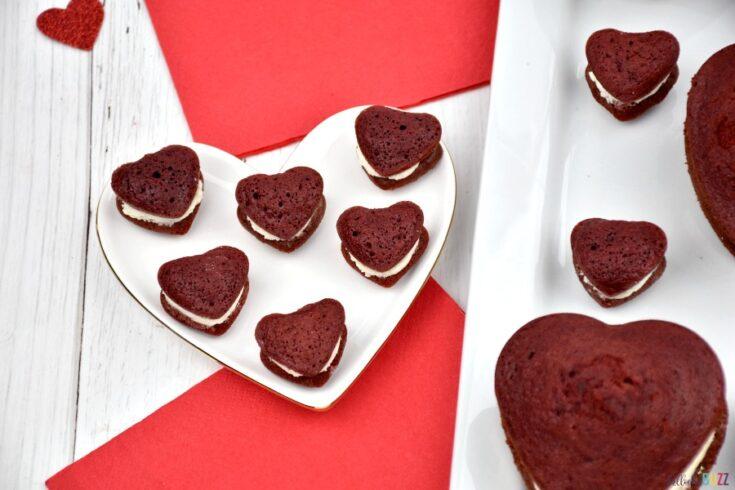 mini heart-shaped red velvet whoopie pies