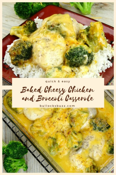 This delicious Baked Cheesy Chicken Broccoli Casserole is made with only a few ingredients and one dish, you can have it prepped and in the oven in ten minutes or less! Serve it over a bed of white rice, and you have a meal that is sure to please!