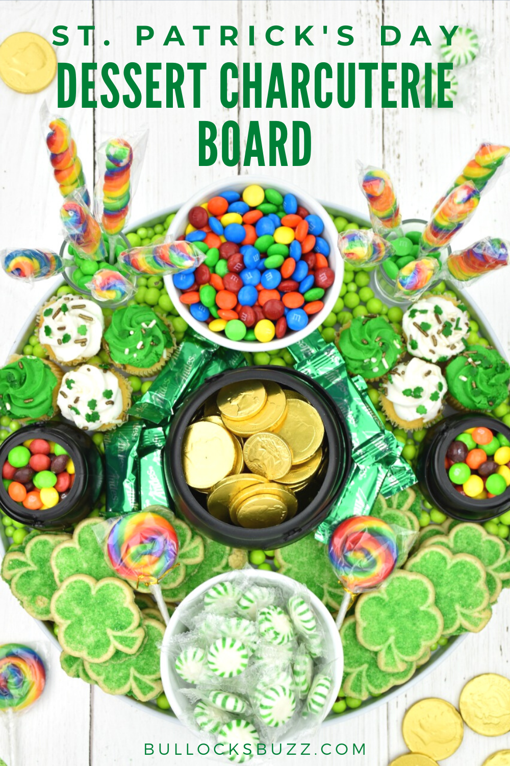 This eye-catching Dessert Charcuterie Board for St. Patrick's Day is SO much tasty fun! From shamrocks to rainbows plus a pot of gold, this colorful sweet treat has it all! #stpatricksday #recipe #charcuterieboard