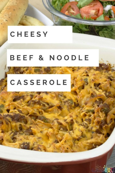 This easy Cheesy Beef and Noodle Casserole is one my family's favorite go-to meals. It may taste like you spent hours making it, but in reality it takes a little less than an hour from start to finish!
