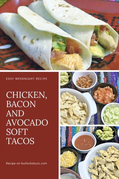 Not only are these Chicken, Bacon, and Avocado soft tacos amazingly delicious, they are also super easy to make. It took me just 20 minutes to have everything prepped, cooked, set up and ready to go!