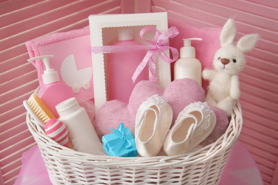 a gift basket like this one is a great baby shower gift idea